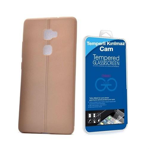 Teleplus Huawei Mate S Deri Görünümlü Silikon Kılıf Kahve +Temperli Kırılmaz Cam