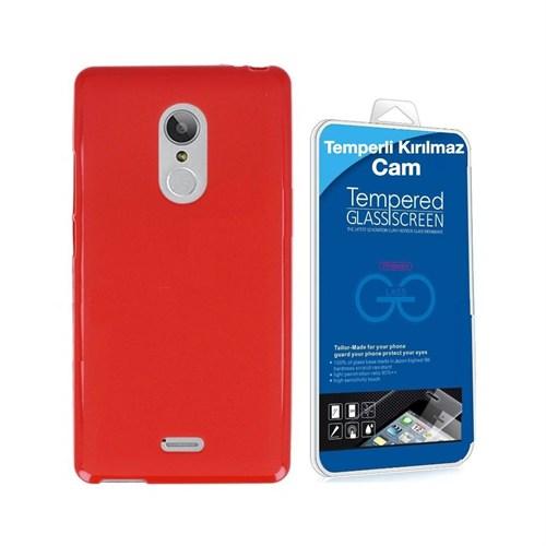 Teleplus Turk Telekom Tt175 Silikon Kılıf Kırmızı + Temperli Kırılmaz Cam