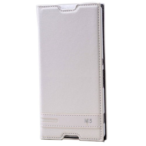Teleplus Sony Xperia M5 Mıknatıslı Flip Cover Kılıf Beyaz