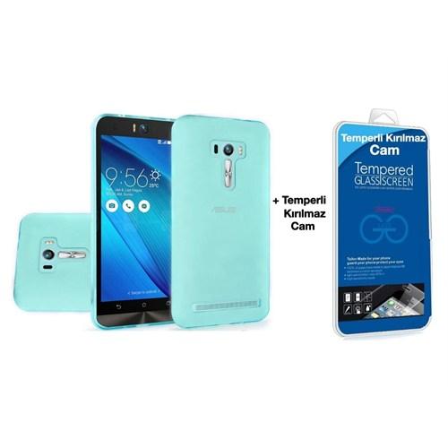 Teleplus Asus Zenfone Selfie Zd551kl Silikon Kılıf Mavi + Kırılmaz Cam