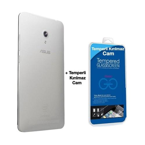 Teleplus Asus Zenfone 6 Arka Batarya Kapak Beyaz + Kırılmaz Cam