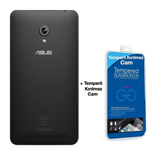 Teleplus Asus Zenfone 6 Arka Batarya Kapak Siyah + Kırılmaz Cam