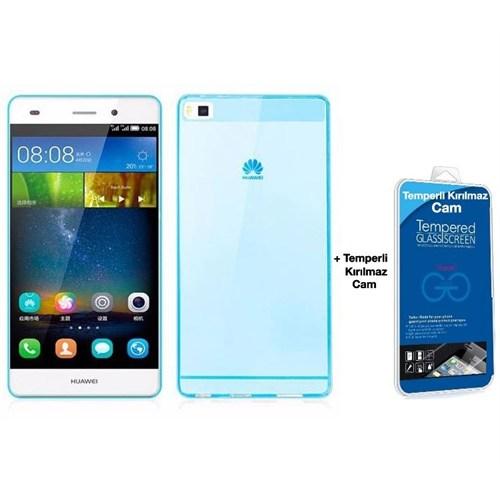 Teleplus Huawei Ascend P8 Lite Silikon Kılıf Mavi + Kırılmaz Cam