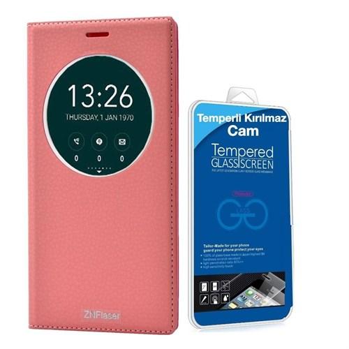 Teleplus Zenfone 2 Laser 6 İnç Pencereli Lüx Kılıf Açık Pembe + Temperli Kırılmaz Cam