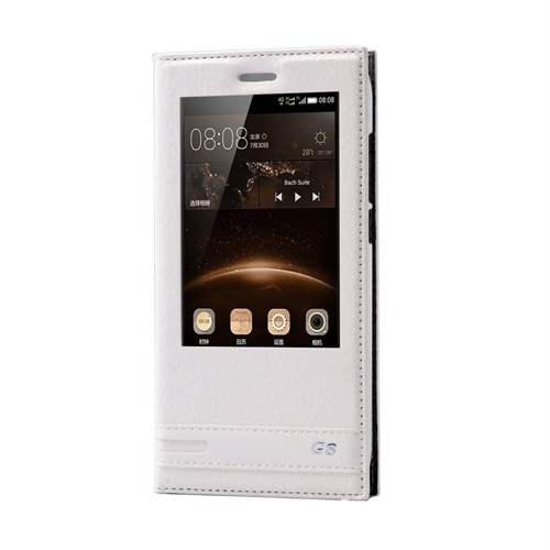 Teleplus Huawei G8 Lüx Pencereli Kılıf Beyaz