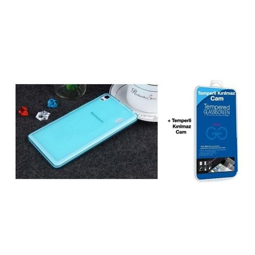Teleplus Lenova A7000 Silikon Kılıf Mavi + Temperli Kırılmaz Cam