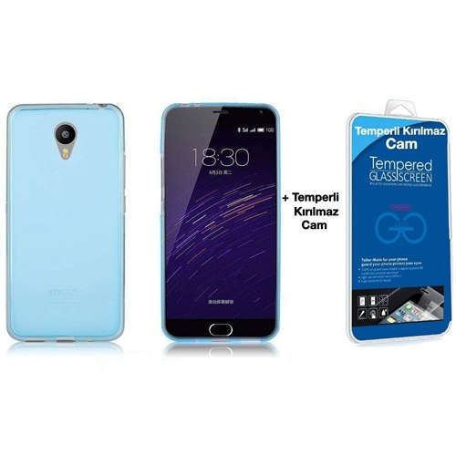 Teleplus Meizu M2 Note Silikon Kılıf Mavi + Temperli Kırılmaz Cam