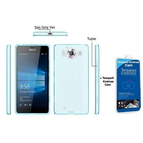 Teleplus Microsoft Lumia 950 Xl Silikon Kılıf Mavi + Temperli Kırılmaz Cam