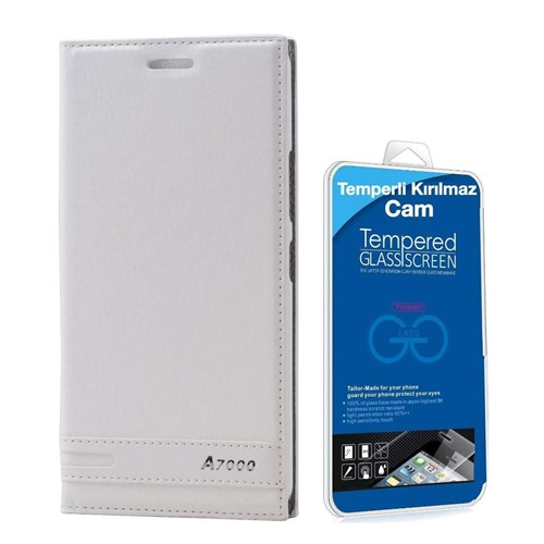 Teleplus Lenovo A7000 Mıknatıslı Lüx Kılıf Beyaz + Temperli Kırılmaz Cam