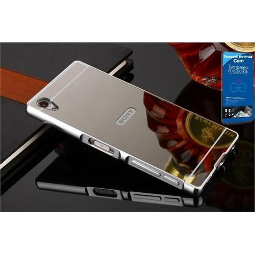 Teleplus Sony Xperia Z5 Premium Aynalı Kapak Gümüş + Kırılmaz Cam