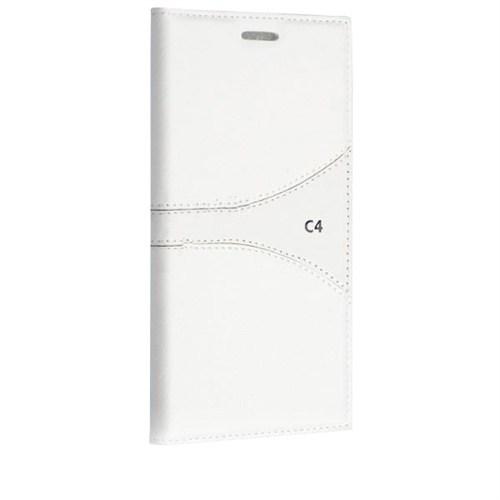 Teleplus Sony Xperia C4 Mıknatıslı Desenli Kılıf Beyaz