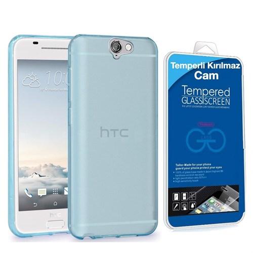 Teleplus Htc One A9 Silikon Kılıf Mavi + Temperli Kırılmaz Cam