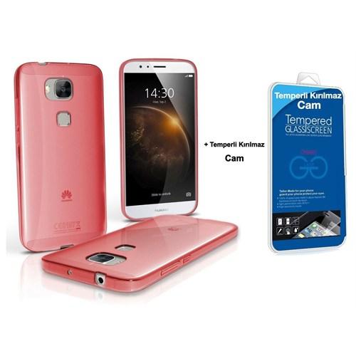 Teleplus Huawei G8 Silikon Kılıf Kırmızı +Temperli Kırılmaz Cam