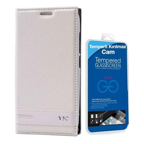 Teleplus Huawei Y5c Lüx Mıknatıslı Kılıf Beyaz + Temperli Kırılmaz Cam Ekran Koruyucu