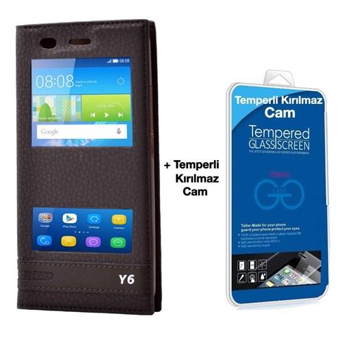 Teleplus Huawei Honor Y6 Lüx Pencereli Kılıf Kahve + Temperli Kırılmaz Cam
