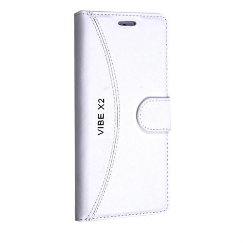 Teleplus Lenovo Vibe X2 Cüzdanlı Desenli Kılıf Beyaz