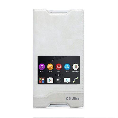 Teleplus Sony Xperia C5 Ultra Mıknatıslı Çift Pencereli Kılıf Beyaz