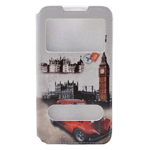 Teleplus Htc Desire 516 Çift Pencereli London Desenli Kılıf