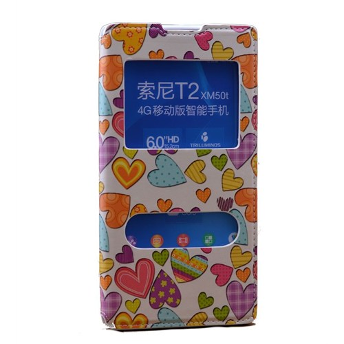 Teleplus Sony Xperia T2 Çift Pencereli Desenli Kılıf Kalp