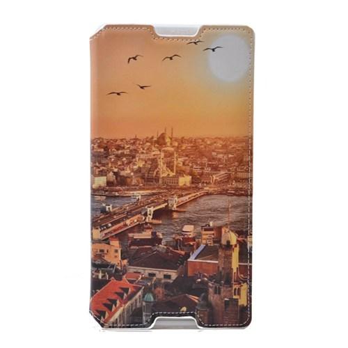 Teleplus Sony Xperia C3 İstanbul Desenli Gizli Mıknatıslı Kılıf