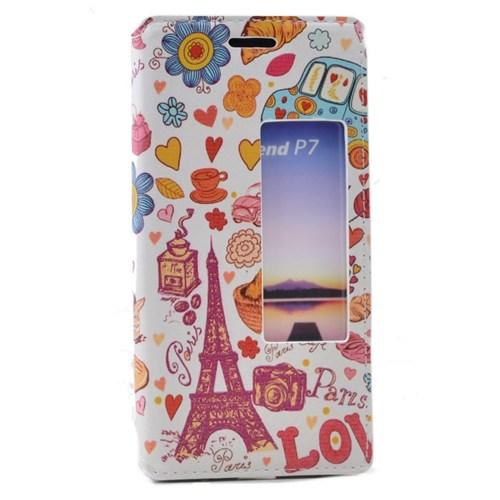 Teleplus Huawei Ascend P7 Pencereli Desenli Kılıf Love