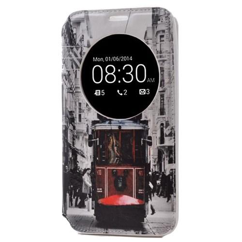 Teleplus Asus Zenfone 2 Desenli Pencereli Kılıf Taksim