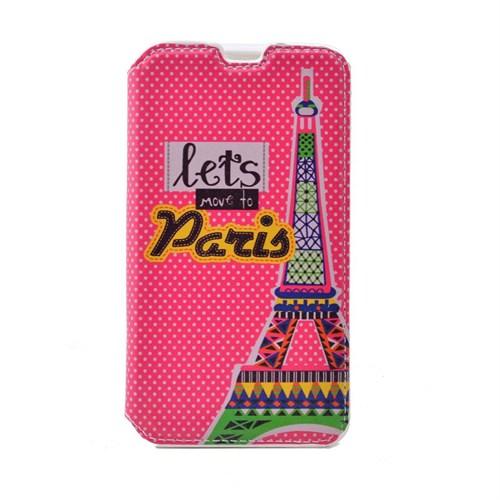 Teleplus Sony Xperia E4g Desenli Standlı Kılıf Pembe Paris