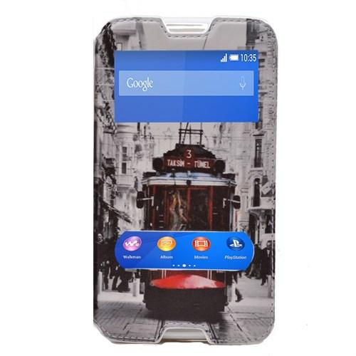 Teleplus Sony Xperia E4 Çift Pencereli Kılıf Taksim