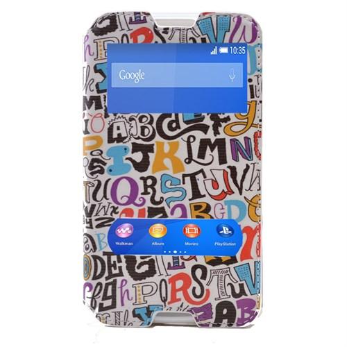Teleplus Sony Xperia E4 Çift Pencereli Kılıf Yazı