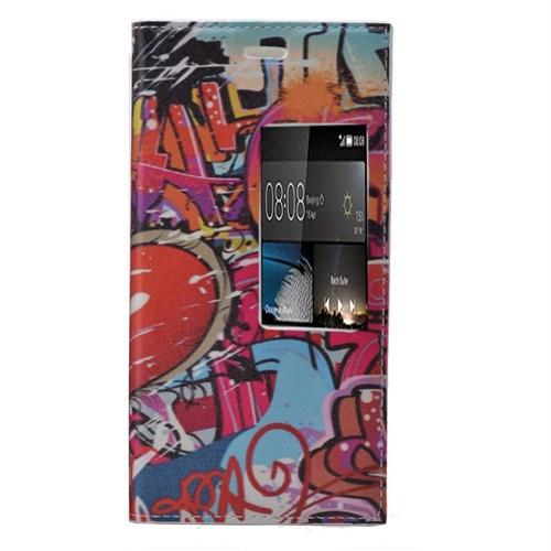 Teleplus Huawei P8 Desenli Pencereli Kılıf Kırmızı Yazı