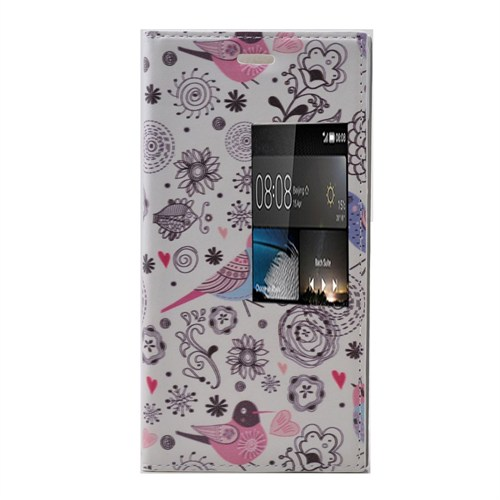 Teleplus Huawei P8 Desenli Pencereli Kılıf Kuş