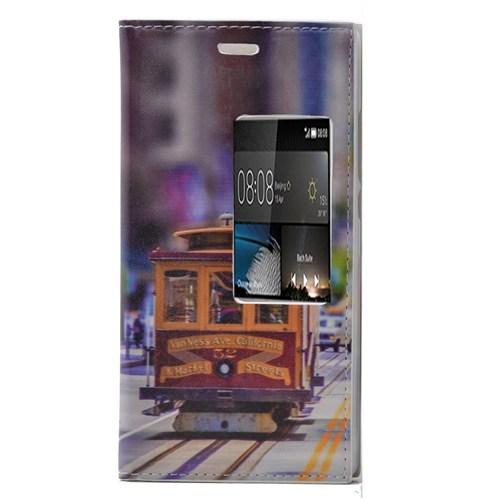 Teleplus Huawei P8 Desenli Pencereli Kılıf Tren
