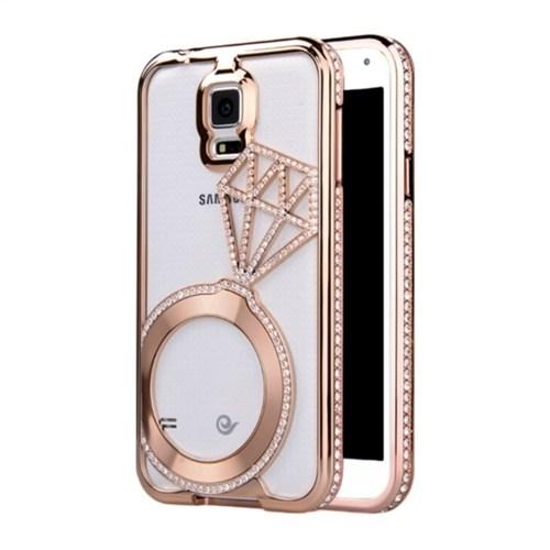 Kılıfshop Samsung Galaxy Note 4 Tek Taş Yüzük Metal Bumper