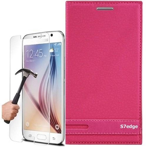 Kılıfshop Samsung Galaxy S7 Edge Kapaklı Magnum Kılıf + Kırılmaz Cam Ekran Koruyucu
