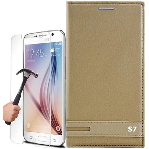 Kılıfshop Samsung Galaxy S7 Kapaklı Magnum Kılıf + Kırılmaz Cam Ekran Koruyucu