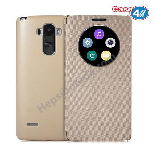 Case 4U LG G4 Stylus Flip Cover Altın (Uyku Modlu)