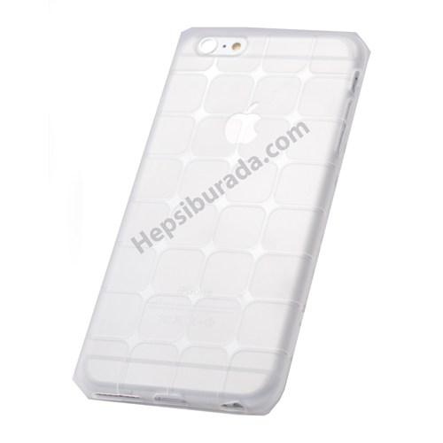 Fonemax Apple İphone 6S Plus Kare Desenli Silikon Kılıf Şeffaf