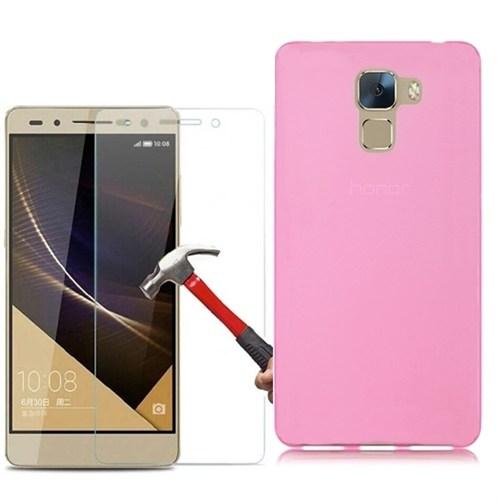 Kılıfshop Huawei Honor 7 Silikon Kılıf Pembe + Kırılmaz Cam Ekran Koruyucu