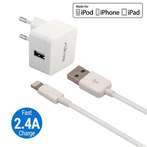 Mirax iPhone 6S/ 6SPlus/ 6/ 6Plus/ 5/ 5S/ 5C Şarj Kiti - SWT-5220 - Orijinal Apple Lisanslı Ürün