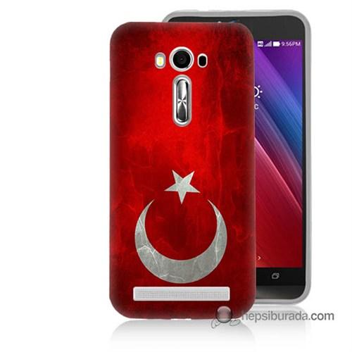 Teknomeg Asus Zenfone Laser 5.0 Kılıf Kapak Türkiye Bayrağı Baskılı Silikon