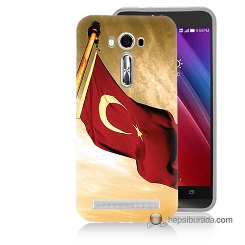 Teknomeg Asus Zenfone Laser 5.0 Kılıf Kapak Türk Bayrağı Baskılı Silikon