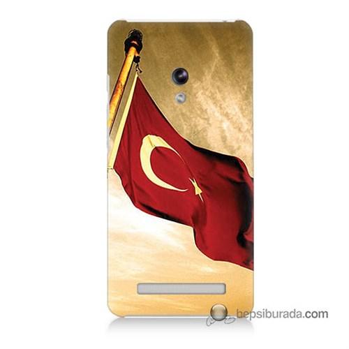 Teknomeg Asus Zenfone 5 Kılıf Kapak Türk Bayrağı Baskılı Silikon