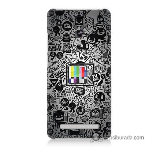Teknomeg Asus Zenfone 5 Lite Kapak Kılıf Renkli Tv Baskılı Silikon