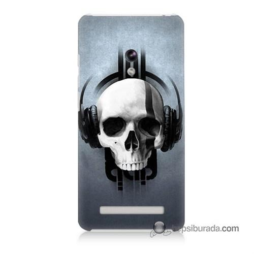 Teknomeg Asus Zenfone 5 Lite Kılıf Kapak Müzik Dinleyen Kurukafa Baskılı Silikon