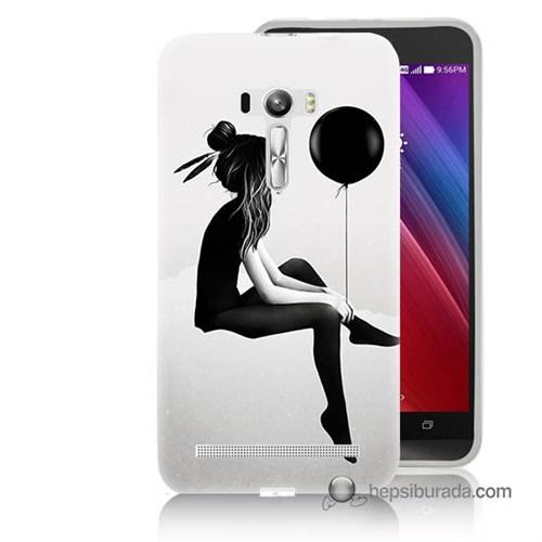 Teknomeg Asus Zenfone Selfie Kapak Kılıf Balonlu Kız Baskılı Silikon