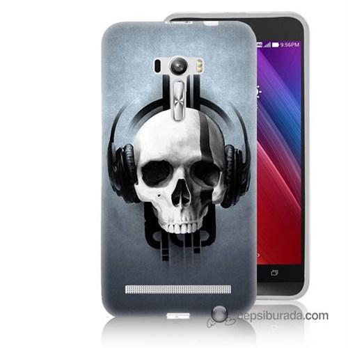 Teknomeg Asus Zenfone Selfie Kılıf Kapak Müzik Dinleyen Kurukafa Baskılı Silikon