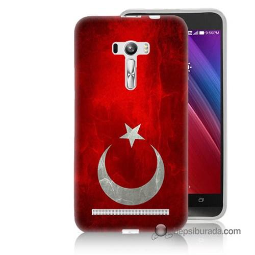 Teknomeg Asus Zenfone Selfie Kılıf Kapak Türkiye Bayrağı Baskılı Silikon