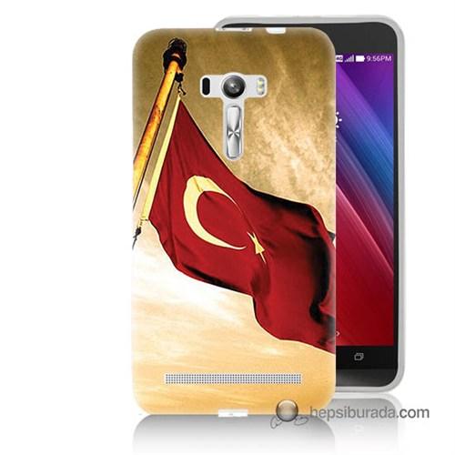 Teknomeg Asus Zenfone Selfie Kılıf Kapak Türk Bayrağı Baskılı Silikon