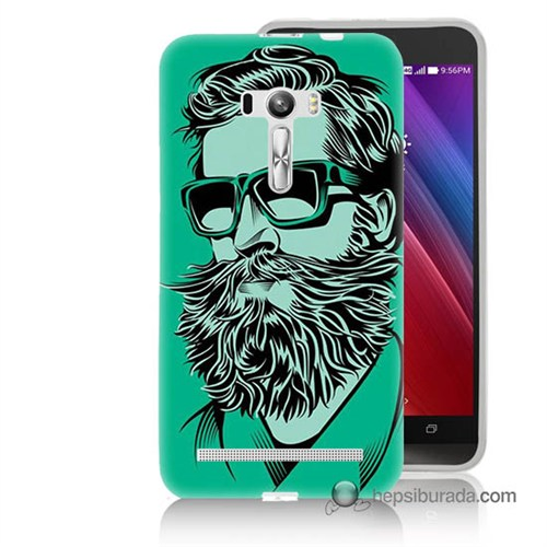 Teknomeg Asus Zenfone Selfie Kılıf Kapak Beard Art Baskılı Silikon