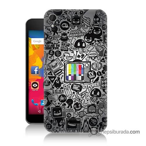 Teknomeg Casper Via V3 Kapak Kılıf Renkli Tv Baskılı Silikon